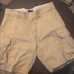 Two pairs of Ralph Lauren khaki cargo shorts 38W